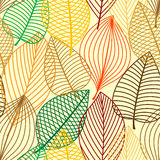 Colorful autumnal outline leaves seamless pattern Royalty Free Stock Photos