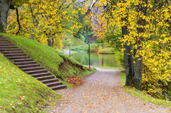 Colorful autumnal park in Cesis, Latvia, Europe Stock Photo