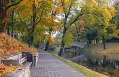 Colorful autumnal park, Riga,Latvia Stock Photo