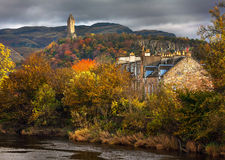 Colorful autumnal a view of William Wallace monument Stock Image