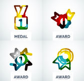 Colorful award business logo set. Abstract color shape design stock images