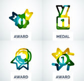 Colorful award business logo set. Abstract color shape design stock photos