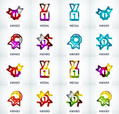Colorful award business logo set Royalty Free Stock Images