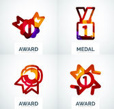 Colorful award business logo set. Abstract color shape design stock photography