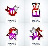 Colorful award business logo set. Abstract color shape design Royalty Free Stock Photos