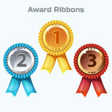 Colorful Award Ribbons, gold, silver and bronze. Colorful Award Ribbons, medals - gold, silver and bronze Stock Image