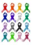 Colorful awareness ribbons Royalty Free Stock Images