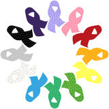 Colorful awareness ribbons silhouette Stock Photos