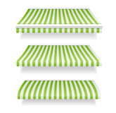 Colorful Awnings for Shop Set Green. Vector Stock Image
