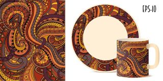 Colorful aztec pattern for dishes Stock Images