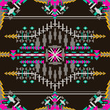 Colorful aztec seamless pattern on dark background. Ethnic abstract geometric texture. Hand drawn navajo fabric. Can be used for. Wallpaper, web page background Vector Illustration