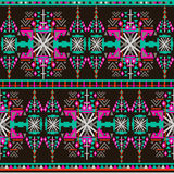 Colorful aztec seamless pattern on dark background. Ethnic abstract geometric texture. Hand drawn navajo fabric. Can be used for. Wallpaper, web page background Stock Illustration