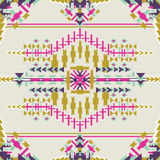 Colorful aztec seamless pattern on dark background.. Ethnic abstract geometric texture. Hand drawn navajo fabric. Used for wallpap. Er, web page background Vector Illustration