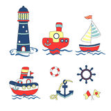 Colorful Baby background. Cartoon ships and boats set. Royalty Free Stock Image