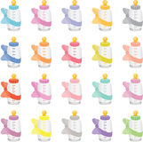 Colorful Baby Bottles. Scalable vectorial image representing a colorful baby bottles, on white royalty free illustration