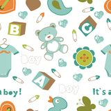 Colorful baby boy pattern Royalty Free Stock Image