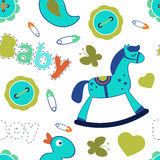 Colorful baby boy seamless pattern Stock Photos