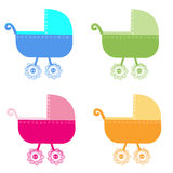 Colorful baby carriage vector background Stock Image