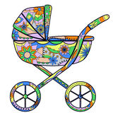 Colorful baby carriage Stock Photos