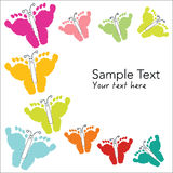 Colorful baby footprints and butterfly greeting card Royalty Free Stock Photo