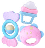 Colorful baby rattle set Royalty Free Stock Photo