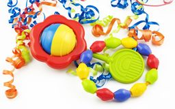 Colorful Baby Rattle and Teething Ring Royalty Free Stock Photography