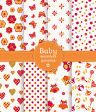 Colorful baby seamless patterns. Vector set. Collection of colorful baby seamless patterns in white, orange and pink colors. Vector illustration royalty free illustration
