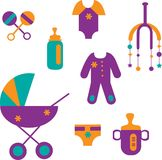 Colorful baby set of toys and clothing Royalty Free Stock Photos