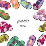Colorful baby shoes nin the frame. Vector illustration on white background. Place for your text in the middle. Hand drawn colorful baby shoes in the frame shape stock illustration