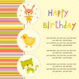 Colorful Baby shower background with animals and flowers. Royalty Free Stock Images
