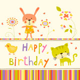Colorful Baby shower background with animals and flowers. Royalty Free Stock Photos