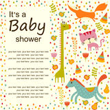 Colorful Baby shower background. Happy birthday greeting card or invitation. Stock Photos