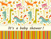 Colorful Baby shower background. Happy birthday greeting card or invitation. Royalty Free Stock Photo