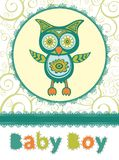 Colorful baby shower card with cute owl Stock Image
