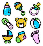 Colorful Baby Shower Doodles Royalty Free Stock Photos