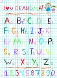 Colorful baby sketch hand drawn doodle alphabet letters and numerals. Multicolored baby sketch hand drawn doodle alphabet letters and numerals on squared stock illustration
