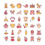 Colorful baby toys and clothes icon set isolated on a white background. royalty free illustration