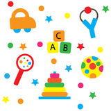 Colorful Baby Toys. Like car, ball, smart toys, ABC Royalty Free Stock Images