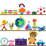 Colorful baby toys on shelves Royalty Free Stock Image