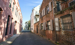 Colorful back alley street in Charleston, South Carolina Royalty Free Stock Image
