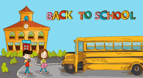 Colorful back to school education cartoon. Royalty Free Stock Photos