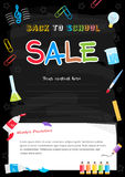 Colorful back to school sale poster on chalkboard theme Stock Images