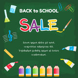 Colorful back to school sale poster on green chalkboard theme Stock Photos