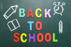 Colorful Back To School wording with some hand drawing images Royalty Free Stock Image