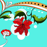 Colorful background. With red flowers Stock Photos