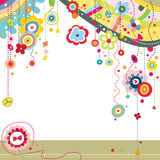 Colorful Background. Funky background with colorful shapes and flowers Royalty Free Stock Image