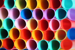 Colorful background. Macro shot  of multi colored drinking straws Stock Photos