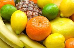 Colorful background. Close-up view of colorful tropical fruits Royalty Free Stock Images