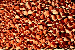Colorful background. Piled wooden blocks crimson coloured background Stock Photos
