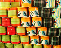 Colorful Background. A bunch of properly arranged colorful porcelain mugs as a background Royalty Free Stock Photography